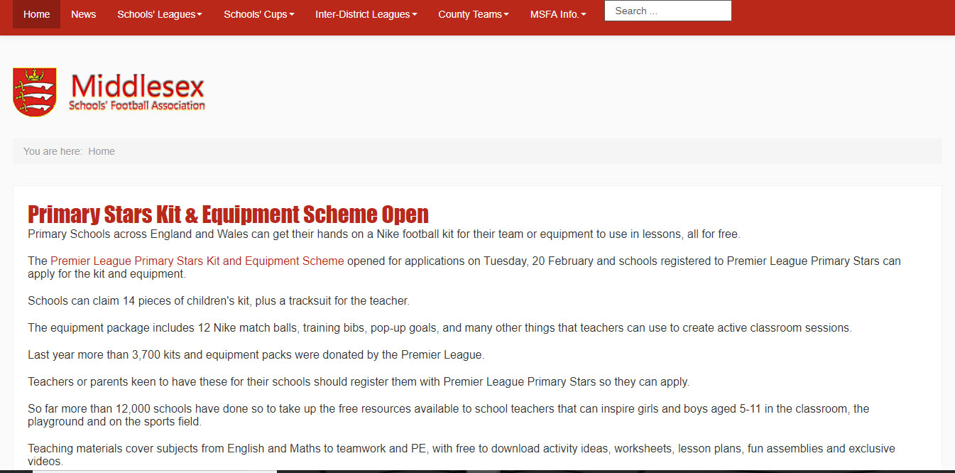 Middlesex Schools' FA Website